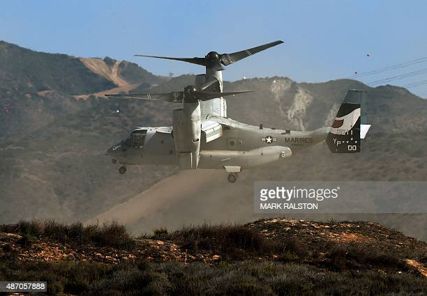 Marines MV22 Osprey lands during an amphibious landing operation with US Forces and the Japan Maritime SelfDefense Force at the Dawn Blitz 2015...