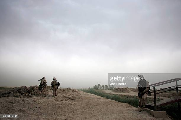 S Marines of Golf Company 2 battalion 7th Marines during a security patrol May 12 2007 in the area known as Zaidon in the Al Anbar province near...
