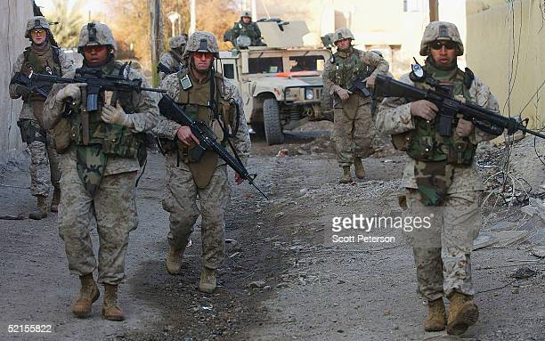 Marines of Weapons Company 3rd Battalion 5th Marines patrol on February 7 as residents return to rebuild their lives after a full scale US invasion...
