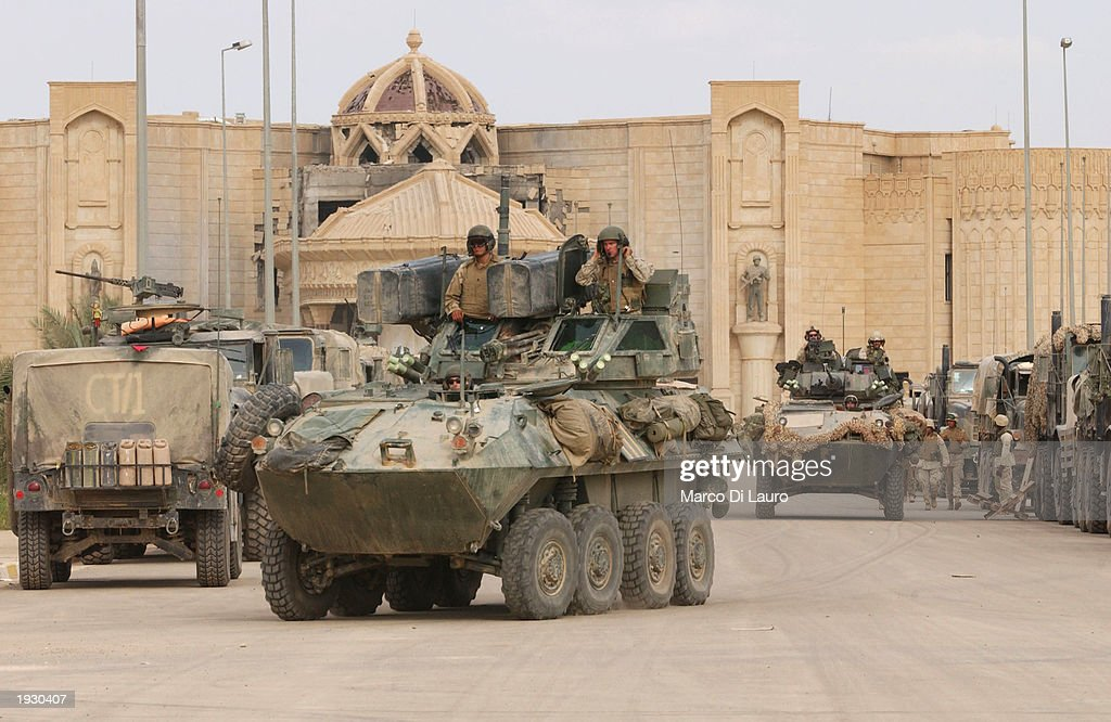Marines operate light armored vehicles in front of Saddam Hussein Palace April 14, 2003 in Tikrit which is located approximately 175 km (108 miles) north of Baghdad. U.S Marines made it to the center of the city and have encountered little resistance.