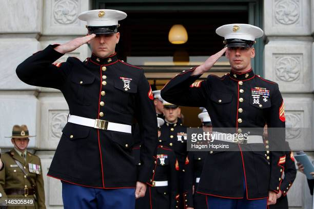 Marines pay their respects at the Tomb of the Unknown Warrior during a wreathlaying ceremony at the National War Memorial on June 14 2012 in...