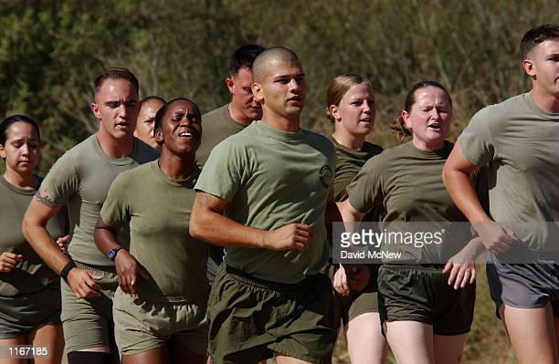 S Marines run in formation during training exercises September 24 2001 at Camp Pendleton CA north of San Diego