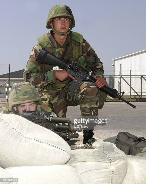 S Marines Take Up Position Around Critical Areas Of The Rota Naval Station In Spain September 14 2001 In An Effort To Increase Its Force Protection...