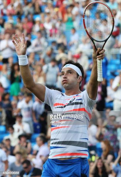 Marinko Matosevic of Australia celebrates after defeating JoWilfried Tsonga of France during their Men's Singles match on day four of the Aegon...