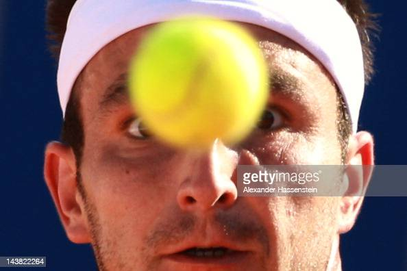 Marinko Matosevic of Australia eyes the ball during his quarter final match against Philipp Kohlschreiber of Germany at BMW Open at Iphitos tennis...