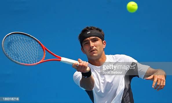 Marinko Matosevic of Australia plays a forehand during his Australian Open 2012 Playoffs quarterfinal match against Nicholas Kyrgios of Australia at...