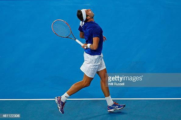 Marinko Matosevic of Australia reacts after dropping a point to Benoit Paire of France in the men's singles match during day four of the 2015 Hopman...