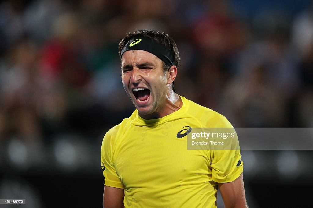 <a gi-track='captionPersonalityLinkClicked' href=/galleries/search?phrase=Marinko+Matosevic&family=editorial&specificpeople=5644656 ng-click='$event.stopPropagation()'>Marinko Matosevic</a> of Australia shows his frustration in his quarter final match against Sergiy Stakhovsky of the Ukraine during day five of the 2014 Sydney International at Sydney Olympic Park Tennis Centre on January 9, 2014 in Sydney, Australia.
