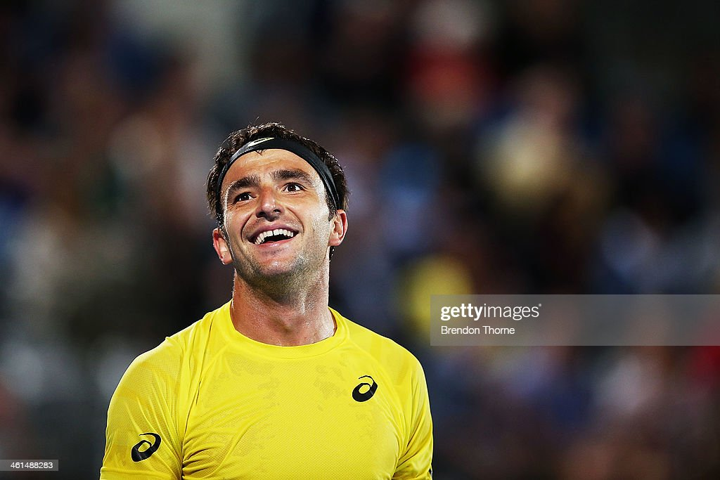 Marinko Matosevic of Australia shows his frustration in his quarter final match against Sergiy Stakhovsky of the Ukraine during day five of the 2014 Sydney International at Sydney Olympic Park Tennis Centre on January 9, 2014 in Sydney, Australia.