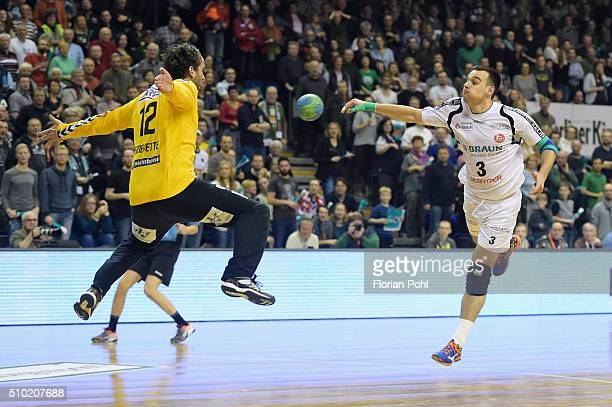 Marino Maric of MT Melsungen throws the ball against Silvio Heinevetter of Fuechse Berlin during the game between Fuechse Berlin and MT Melsungen on...