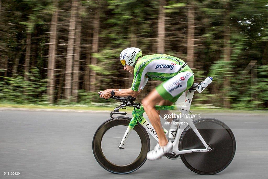Marino Vanhoenacker compete in the bike leg during the Ironman Austria on June 26, 2016 in Klagenfurt, Austria.