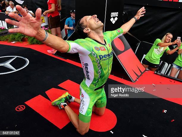 Marino Vanhoenacker of Belguim celebrates winning Ironman Austria on June 26 2016 in Klagenfurt Austria