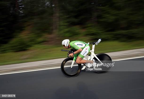 Marino Vanhoenacker of Belguim competes in the bike section of Ironman Austria on June 26 2016 in Klagenfurt Austria