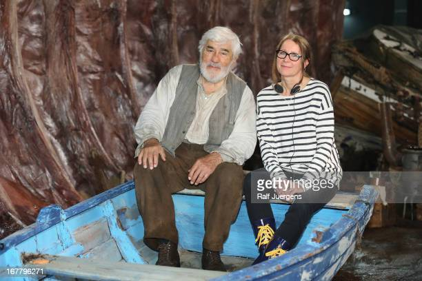 Mario Adorf and director Anna Justice attend the 'Pinocchio' set visit at MMC Studios on April 30 2013 in Cologne Germany