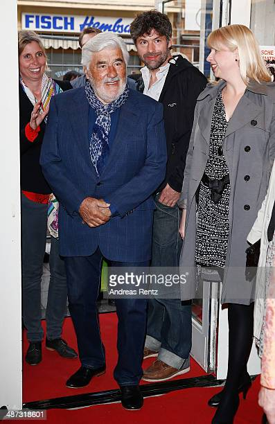 Mario Adorf arrives for the 'Die Erfindung der Liebe' Cologne Premiere at Odeon Lichtspieltheater on April 29 2014 in Cologne Germany