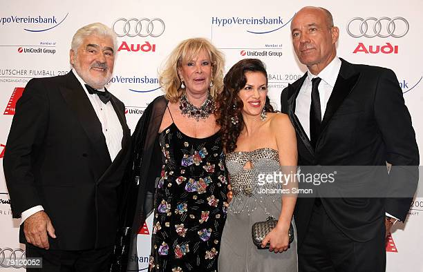 Mario Adorf his wife Monique Viktoria Lauterbach and Heiner Lauterbach arrive for the German film ball at Hotel Bayerischer Hof on January 19 2007 in...