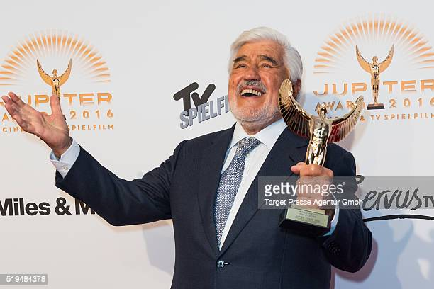 Mario Adorf poses with his award during the Jupiter Award 2016 on April 6 2016 in Berlin Germany