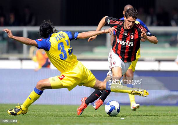Mario Alberto Yepes of Chievo and Pato of Milan in action during the Serie A match between Chievo Verona and AC Milan at the Stadio Bentegodi on...