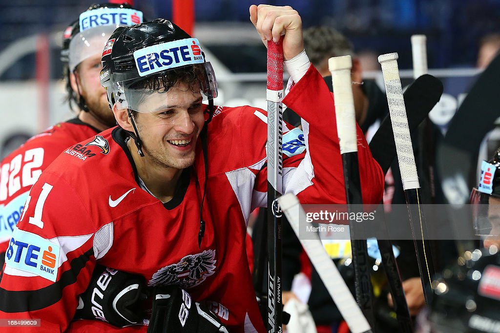 Mario Altmann of Austria looks happy during the IIHF World Championship group H match between Slovakia and Austria at Hartwall Areena on May 10, 2013 in Helsinki, Finland.