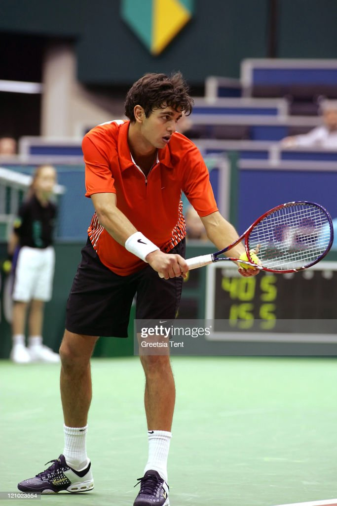 Mario Ancic in action against Jarkko Nieminen during their first round match during the ABN AMRO World Tennis Tournament at the Ahoy' in Rotterdam, Netherlands on February 22, 2006. Jarkko Nieminen defeated Mario Ancic 7-5, 7-6 (5).