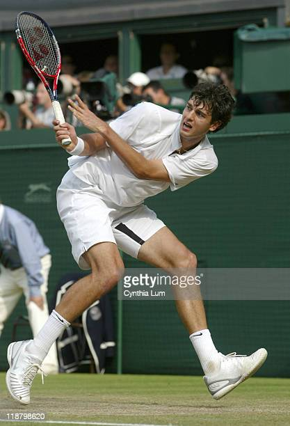 Mario Ancic of Croatia during his 64 64 64 loss to Switzerland's Roger Federer in the quarterfinal of The Wimbledon Championships at the All England...