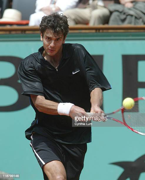 Mario Ancic of Croatia during his fourth round match against Tommy Robredo of Spain at the 2006 French Open at Roland Garros Stadium in Paris France...