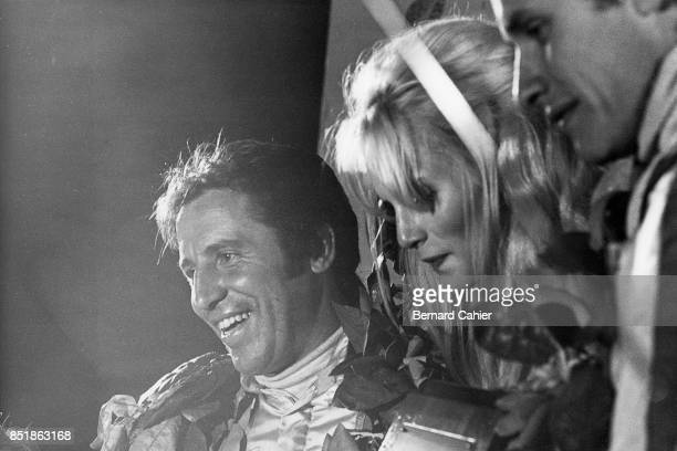 Mario Andretti Ferrari 312PB 12 Hours of Sebring Sebring 25 March 1972 Mario Andretti with codriver Jacky Ickx on the winners podium