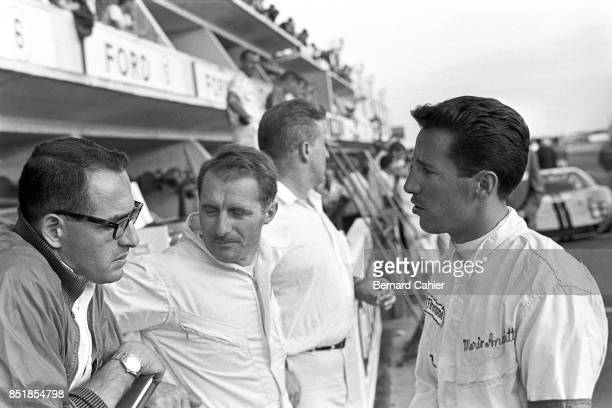 Mario Andretti Lucien Bianchi 24 Hours of Le Mans Le Mans 19 June 1966 Mario Andretti with codriver Lucien Bianchi drove one of the official Ford...