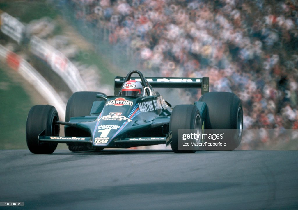 Mario Andretti of the United States enroute to a third place finish during the 1979 Race of Champions at Brands Hatch, England, driving a Lotus 80 with a Ford V8 engine for Martini Racing Team Lotus, on 15th April 1979.