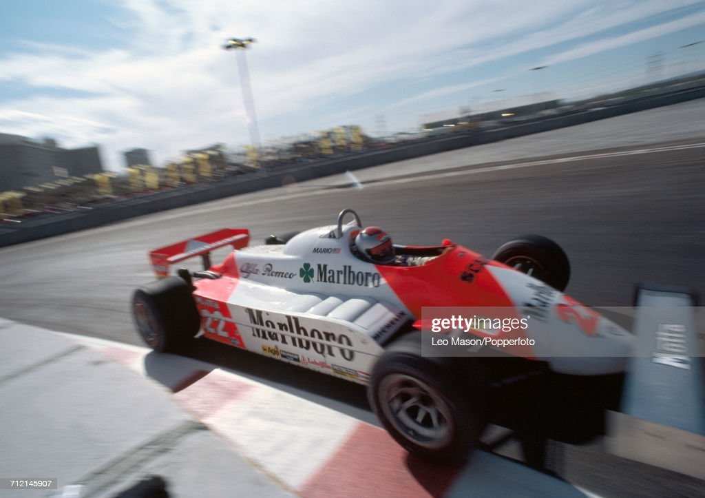 Mario Andretti of the United States in action, driving a #22 Alfa Romeo 179C with a Alfa Romeo V12 engine for Marlboro Team Alfa Romeo, at the 1981 Caesars Palace Grand Prix in Las Vegas on 17th October 1981. Andretti would go on to retire from the race during the 29th lap due to suspension problems.