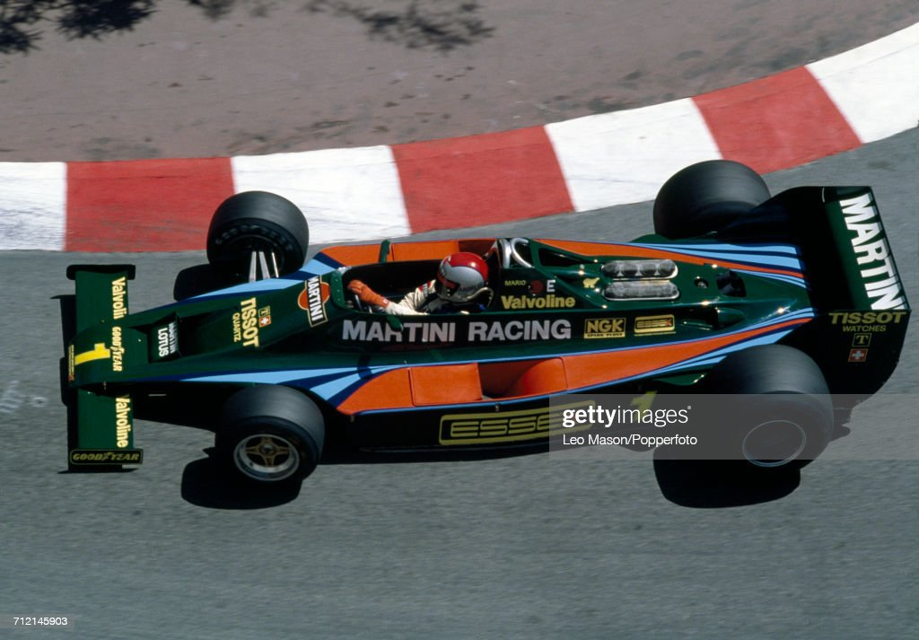 Mario Andretti of the United States in action, driving a #1 Lotus 80 with a Ford V8 engine for Martini Racing Team Lotus, during the Monaco Grand Prix on 27th May 1979. Andretti would go on to retire from the race during the 21st lap with suspension problems.