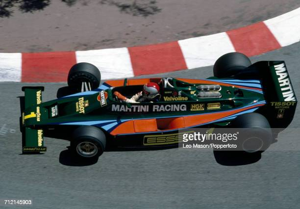 Mario Andretti of the United States in action driving a Lotus 80 with a Ford V8 engine for Martini Racing Team Lotus during the Monaco Grand Prix on...