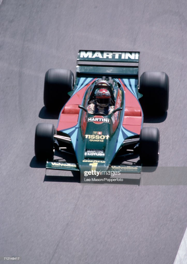 Mario Andretti of the United States in action during the Monaco Grand Prix in Monte Carlo, driving a #1 Lotus 80 with a Ford V8 engine for Martini Racing Team Lotus, on 27th May 1979. Andretti would go on to retire from the race during the 21st lap due to suspension problems.