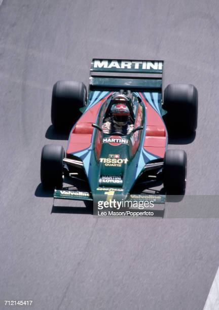 Mario Andretti of the United States in action during the Monaco Grand Prix in Monte Carlo driving a Lotus 80 with a Ford V8 engine for Martini Racing...