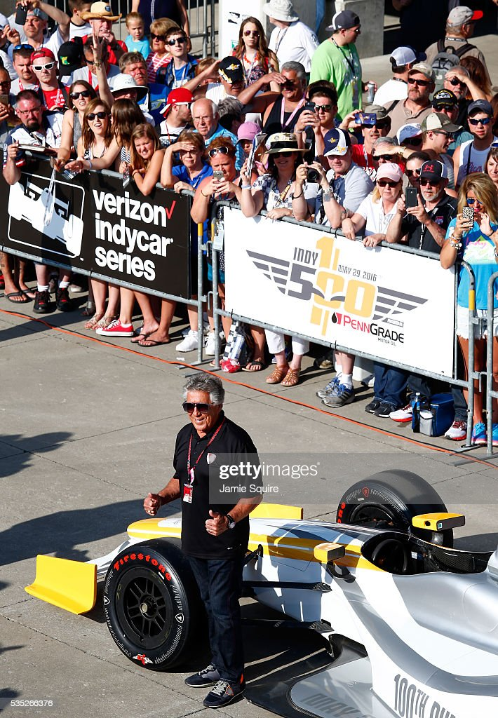 <a gi-track='captionPersonalityLinkClicked' href=/galleries/search?phrase=Mario+Andretti&family=editorial&specificpeople=93739 ng-click='$event.stopPropagation()'>Mario Andretti</a> poses in the red carpet area prior to the 100th running of the Indianapolis 500 at Indianapolis Motorspeedway on May 29, 2016 in Indianapolis, Indiana.