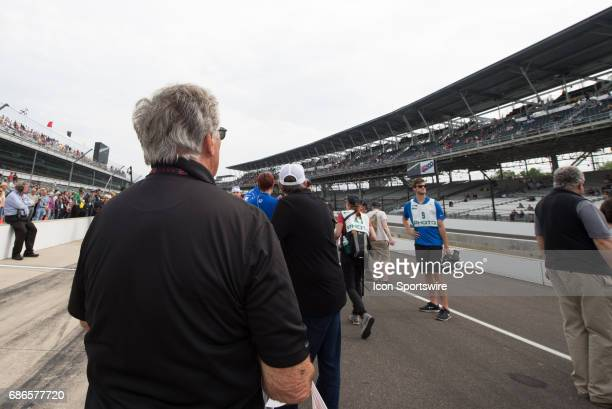 Mario Andretti watching Fernando Alonso qualify on the first day of qualifications for the 101st Indianapolis on May 20 at the Indianapolis Motor...