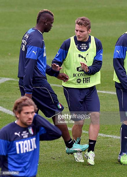 Mario Balotelli and Ciro Immobile during Italy Training Session at Coverciano on November 12 2014 in Florence Italy