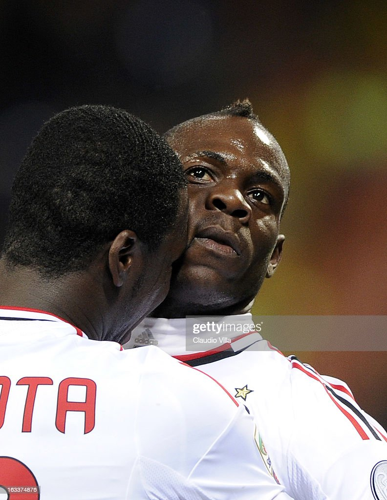 Mario Balotelli and Cristian Zapata (L) of AC Milan during the Serie A match between Genoa CFC and AC Milan at Stadio Luigi Ferraris on March 8, 2013 in Genoa, Italy.