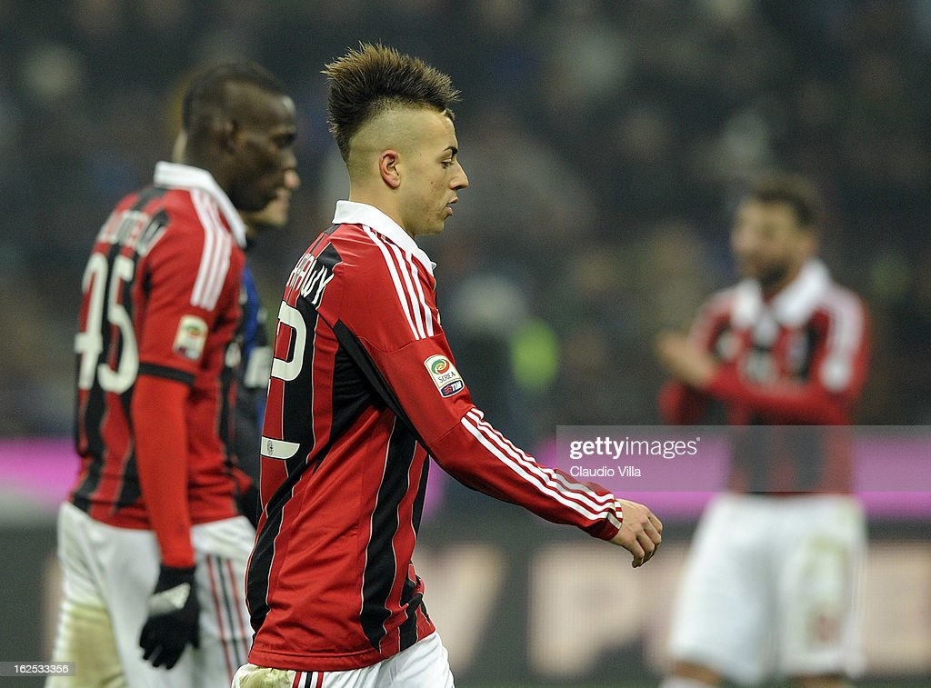 Mario Balotelli (L) and Stephan El Shaarawy of AC Milan dejected during the Serie A match FC Internazionale Milano and AC Milan at San Siro Stadium on February 24, 2013 in Milan, Italy.