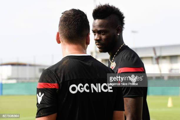 Mario Balotelli and Yoan Cardinale of Nice during Nice Training Session on August 8 2017 in Nice France