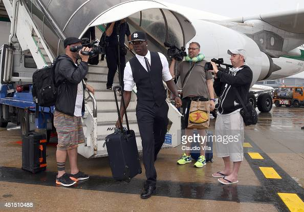 Mario Balotelli arrives at Malpensa Airport on June 26 2014 in Milan Italy