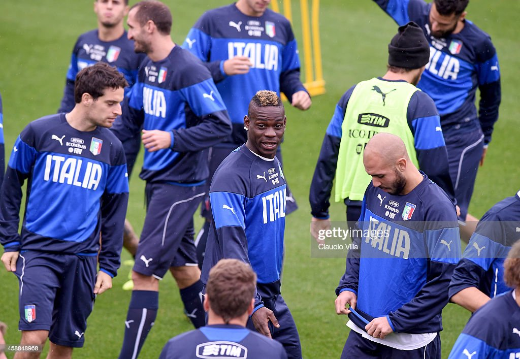 Mario Balotelli (C) during Italy Training Session at Coverciano on November 12, 2014 in Florence, Italy.