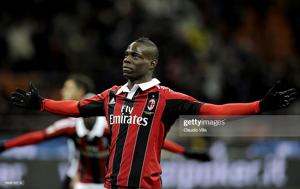 Mario Balotelli of AC Milan celebrates after scoring his second goal from the penalty spot during the Serie A match between AC Milan and Udinese Calcio at San Siro Stadium on February 3, 2013 in Milan, Italy.