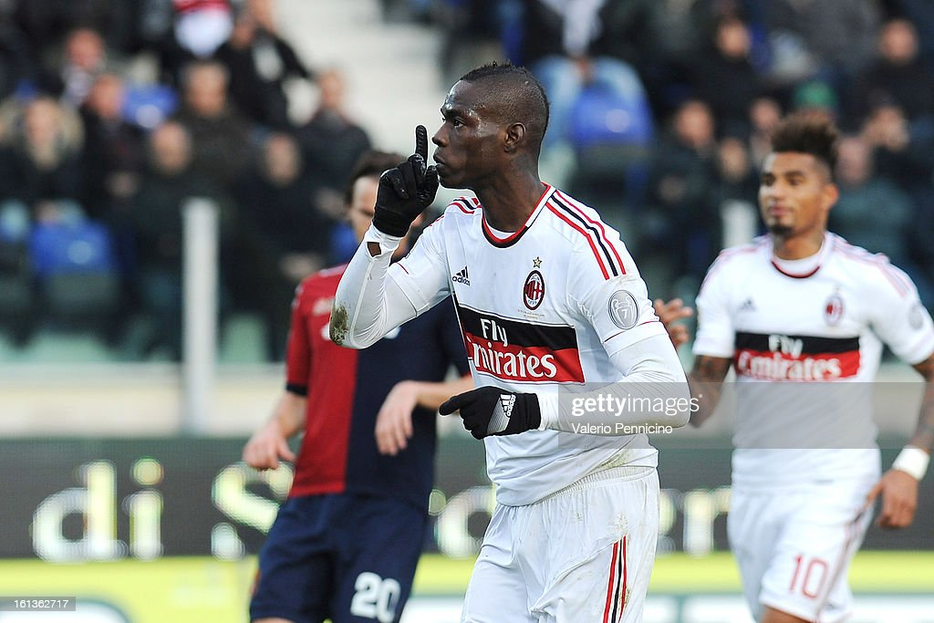 <a gi-track='captionPersonalityLinkClicked' href=/galleries/search?phrase=Mario+Balotelli&family=editorial&specificpeople=4940446 ng-click='$event.stopPropagation()'>Mario Balotelli</a> of AC Milan celebrates his goal scored from the penalty spot during the Serie A match between Cagliari Calcio and AC Milan at Stadio Is Arenas on February 10, 2013 in Cagliari, Italy.