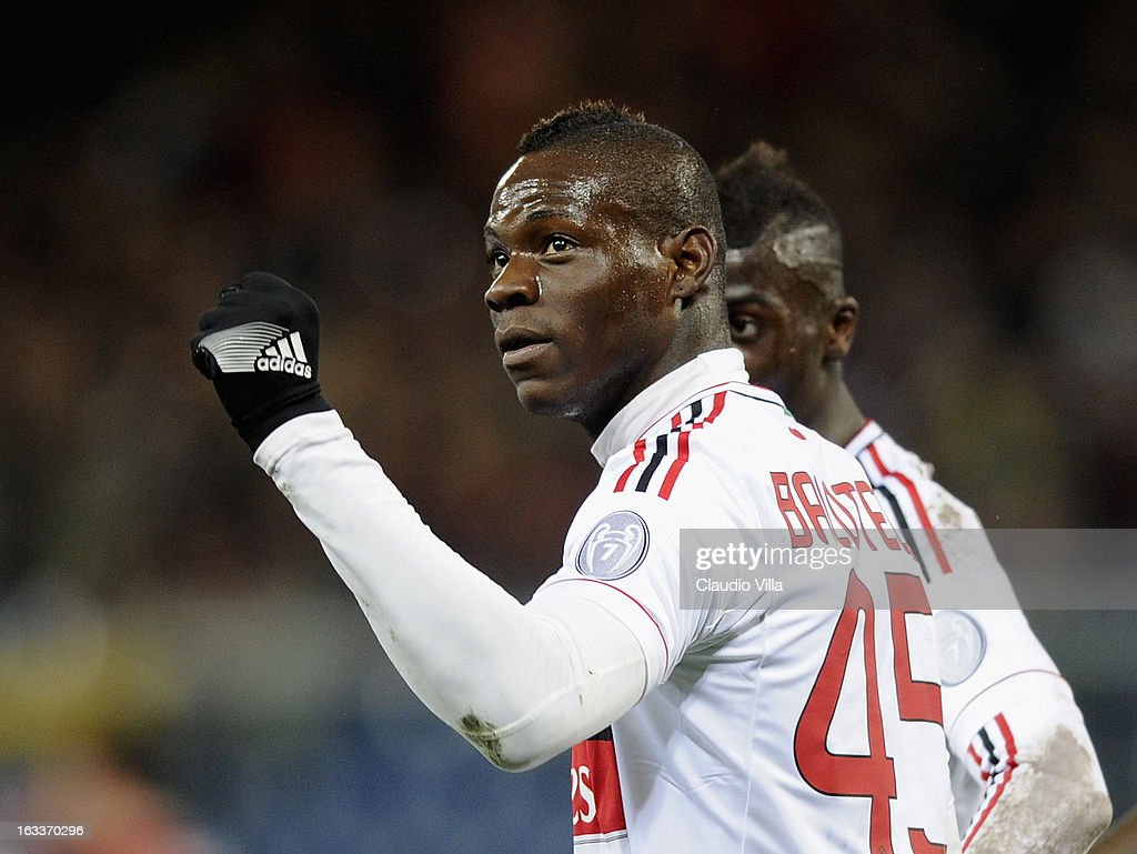 <a gi-track='captionPersonalityLinkClicked' href=/galleries/search?phrase=Mario+Balotelli&family=editorial&specificpeople=4940446 ng-click='$event.stopPropagation()'>Mario Balotelli</a> of AC Milan celebrates scoring the second goal during the Serie A match between Genoa CFC and AC Milan at Stadio Luigi Ferraris on March 8, 2013 in Genoa, Italy.