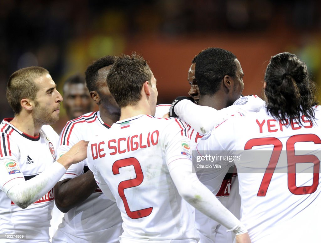Mario Balotelli of AC Milan (C) celebrates scoring the second goal during the Serie A match between Genoa CFC and AC Milan at Stadio Luigi Ferraris on March 8, 2013 in Genoa, Italy.
