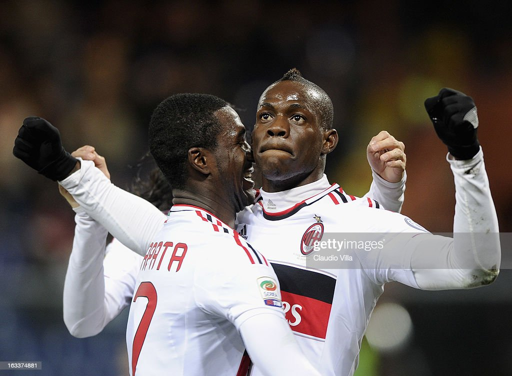 <a gi-track='captionPersonalityLinkClicked' href=/galleries/search?phrase=Mario+Balotelli&family=editorial&specificpeople=4940446 ng-click='$event.stopPropagation()'>Mario Balotelli</a> of AC Milan (R) celebrates scoring the second goal during the Serie A match between Genoa CFC and AC Milan at Stadio Luigi Ferraris on March 8, 2013 in Genoa, Italy.