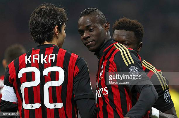 Mario Balotelli of AC Milan celebrates with his teammate Ricardo Kaka after scoring the opening goal during the Serie A match between AC Milan and AC...