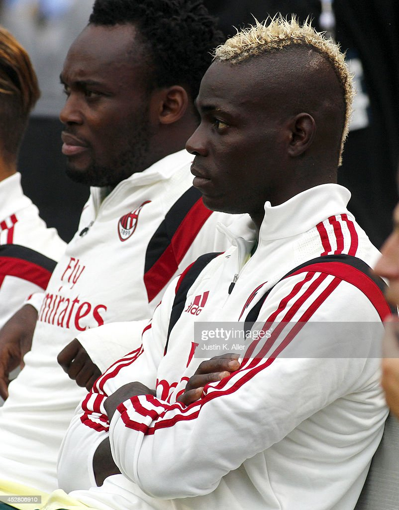 <a gi-track='captionPersonalityLinkClicked' href=/galleries/search?phrase=Mario+Balotelli&family=editorial&specificpeople=4940446 ng-click='$event.stopPropagation()'>Mario Balotelli</a> #45 of AC Milan looks on before the game against Manchester City during International Champions Cup 2014 at Heinz Field on July 27, 2014 in Pittsburgh, Pennsylvania.