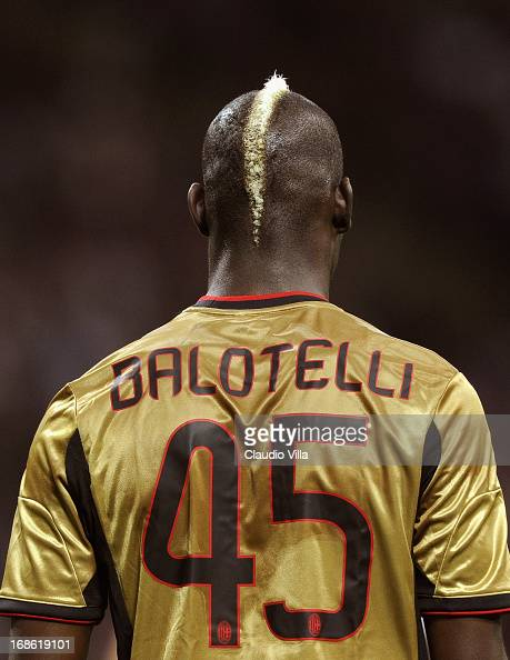 Mario Balotelli of AC Milan looks on during the Serie A match between AC Milan and AS Roma at San Siro Stadium on May 12 2013 in Milan Italy